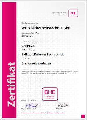 BHE zertifizierter Facherrichter Brandmeldeanlagen