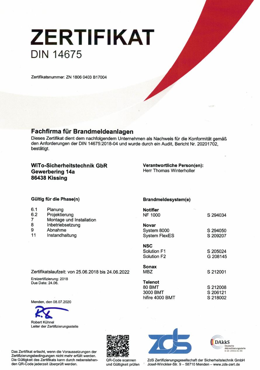 DIN 14675 Zertifikat Fachfirma WiTo-Sicherheitstechnik 2020