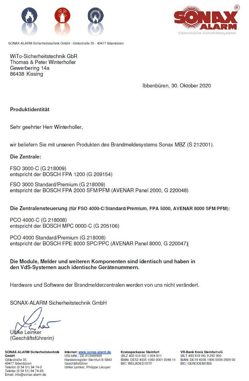 Produktidentität Brandmeldeanlage Bosch SonaxProduktidentität Brandmeldeanlage Bosch Sonax