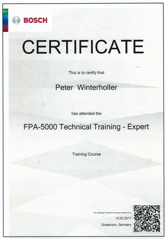 Zertifikat Bosch FPA 1200 und 5000